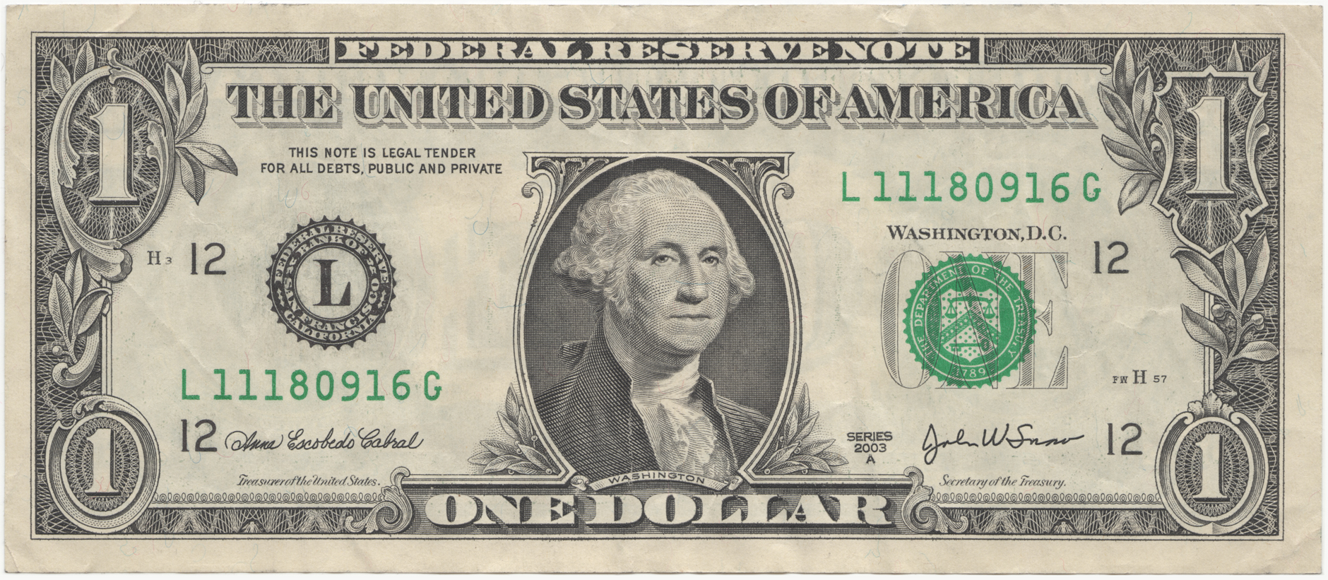United States one dollar bill
